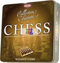Klasszikus fa sakk, fém dobozban